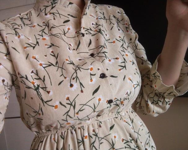 Autumn Winter Corduroy Floral Vintage Collar Long Sleeve Dress Women's Party Ruffle Dress High Elastic Waist Print Female Dress