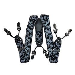 Подтяжки для брюк широкие (4 см, 6 клипс, Черный) 55136