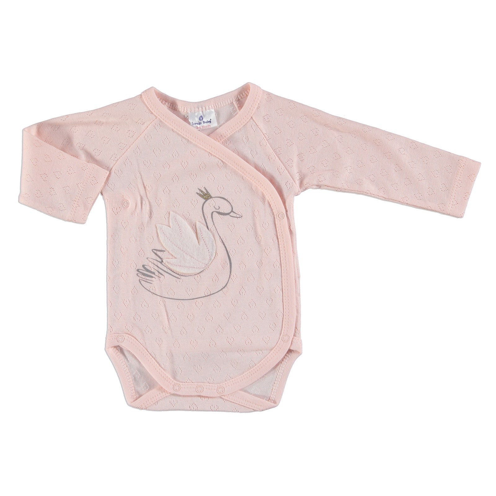 Ebebek Luggi Swan Baby Girl Long Sleeve Bodysuit - Pink