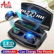 In ear bateria display led sem fio bluetooth 5.0 fones de ouvido à prova dtwágua tws com 1800 mah power bank pode cobrar para fones de ouvido do telefone