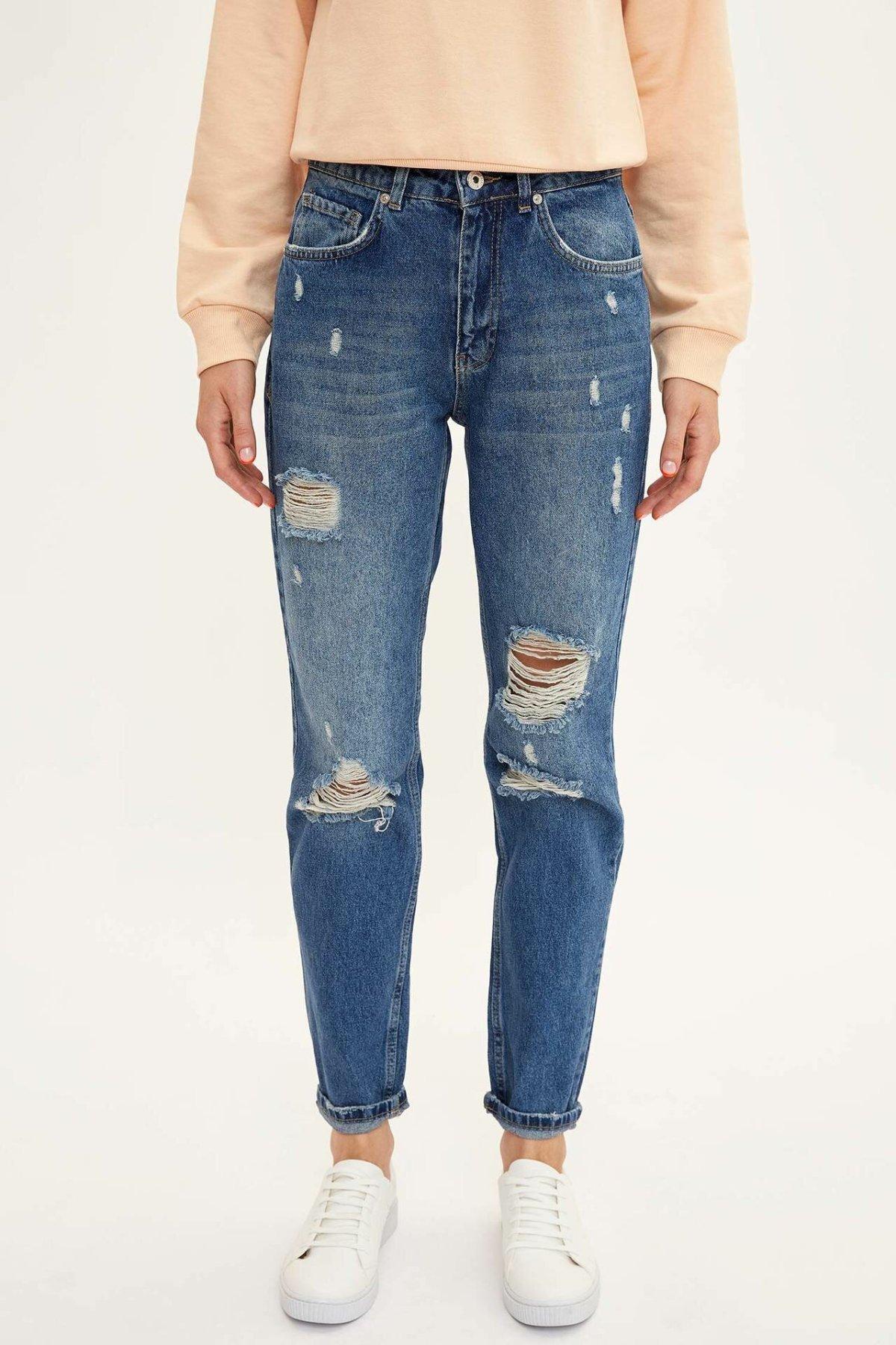 DeFacto Blue Women Mid-waist Loose Denim Jeans Hole Casual Fashion Nine Minutes Trousers-L4585AZ19AU