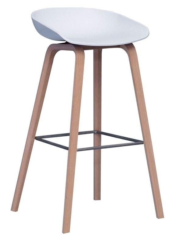 Stool AWAK, Wood, White Seat