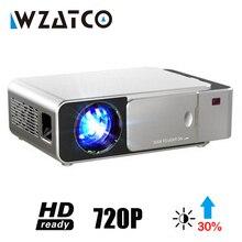 WZATCO T6 אנדרואיד 10 WIFI חכם אופציונלי תמיכת 1080p HD LED נייד מיני מקרן וידאו עבור קולנוע ביתי משחק סרט קולנוע