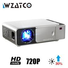 WZATCO T6 Android 10 WIFI akıllı isteğe bağlı desteği 1080p HD LED taşınabilir Mini projektör Video ev sineması oyunu film sinema