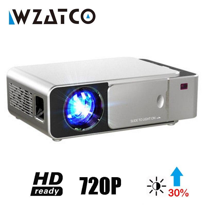 WZATCO T6 Android 9,0 WIFI Smart Optional unterstützung 1080p HD LED Tragbare Mini Projektor Video Für Heimkino Spiel film Kino