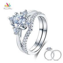 Павлин звезда Твердое Серебро 925 пробы 2 шт обручальное кольцо набор 1 Ct круглой огранки ювелирные изделия CFR8312