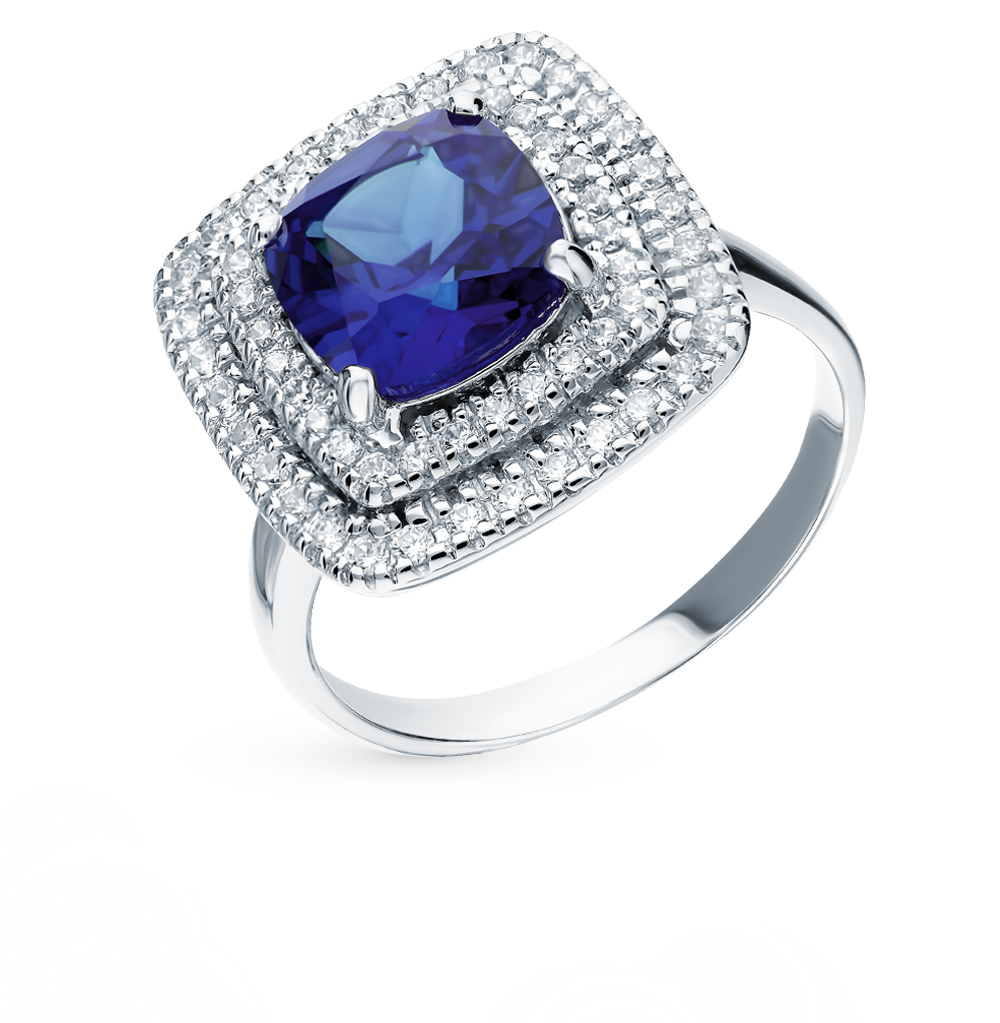 Silver Ring With Sapphire And Cubic Zirconia Sunlight Sample 925