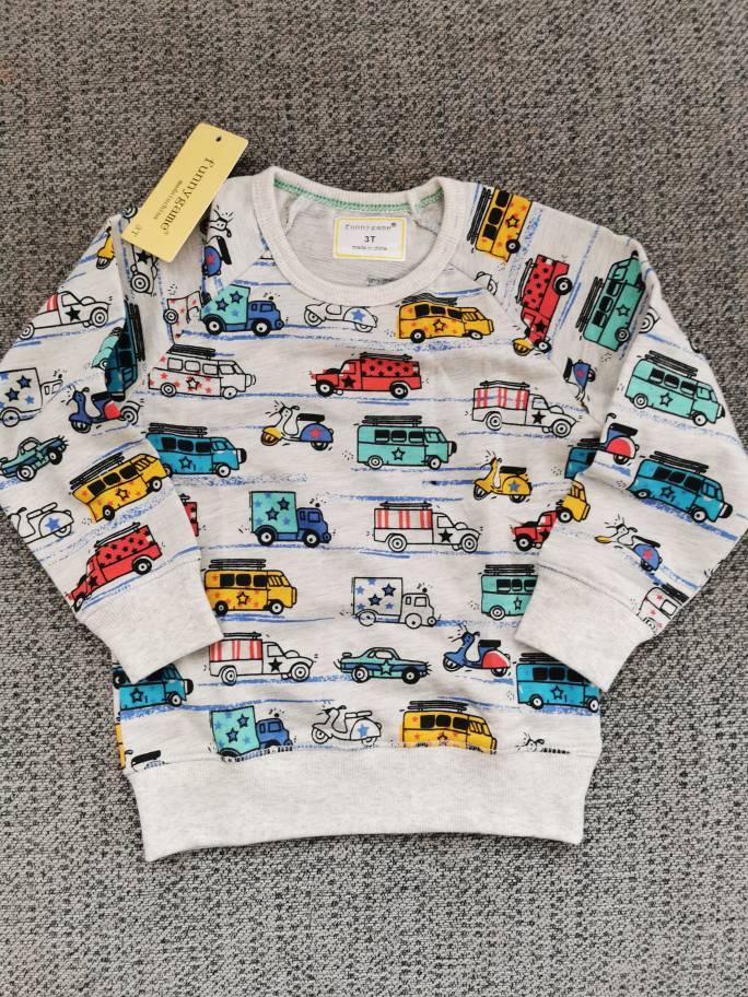 Boys Fashion T Shirts Baby Boy Spring Autumn Long Sleeve Sweatshirt Children Cotton Cartoon Animal Car Printing Sweat 2-7 Years photo review