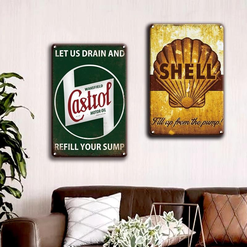 Esso Texaco Castrol Metall Zinn Zeichen Vintage Garage Home Decor Retro Agip Shell Metall Wand Kunst Poster Zeichen Plaques Wand aufkleber