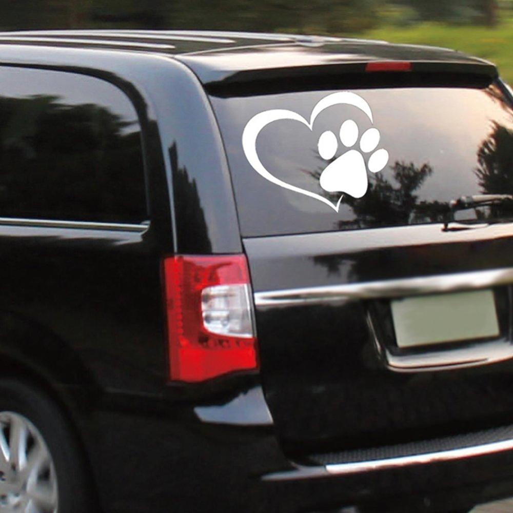 Buy 1 Get 1 Free Heart Dog Cat Paw Decal Pet Paw Print Vinyl Decal Car Window Bumper Laptop Wall Mac Sticker image