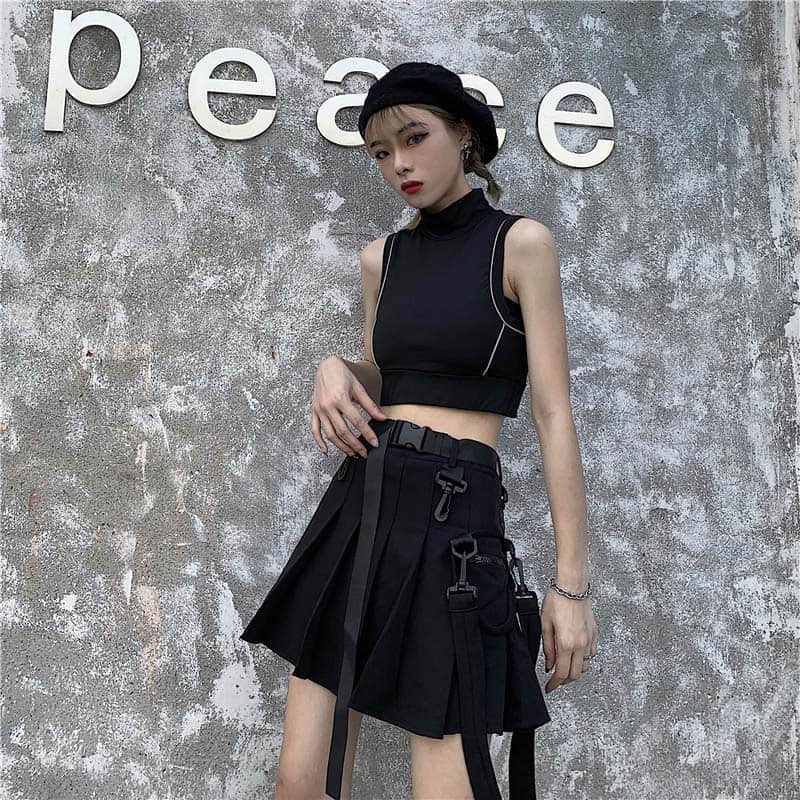 Ivyi Hip Hop Women Pleated Skirt Gothic Black High Waist Mini Skirts Girls Punk A Line Short Skirt with Belt