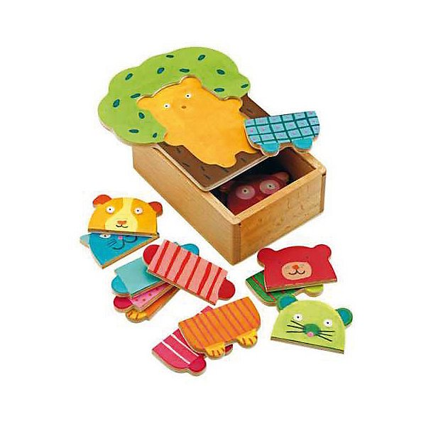 Puzzle Djeco Wooden animals, 15 element wooden puzzle djeco autumn in the woods