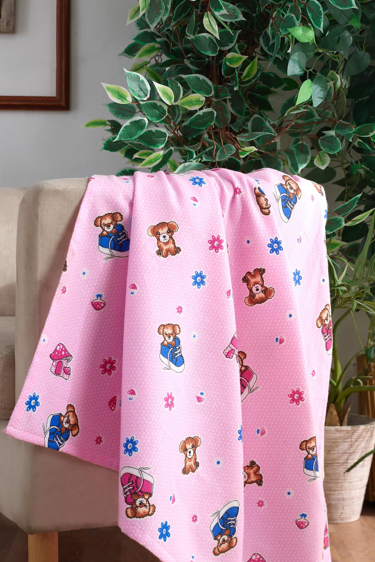 100 Cotton Baby Blanket Pink Bear