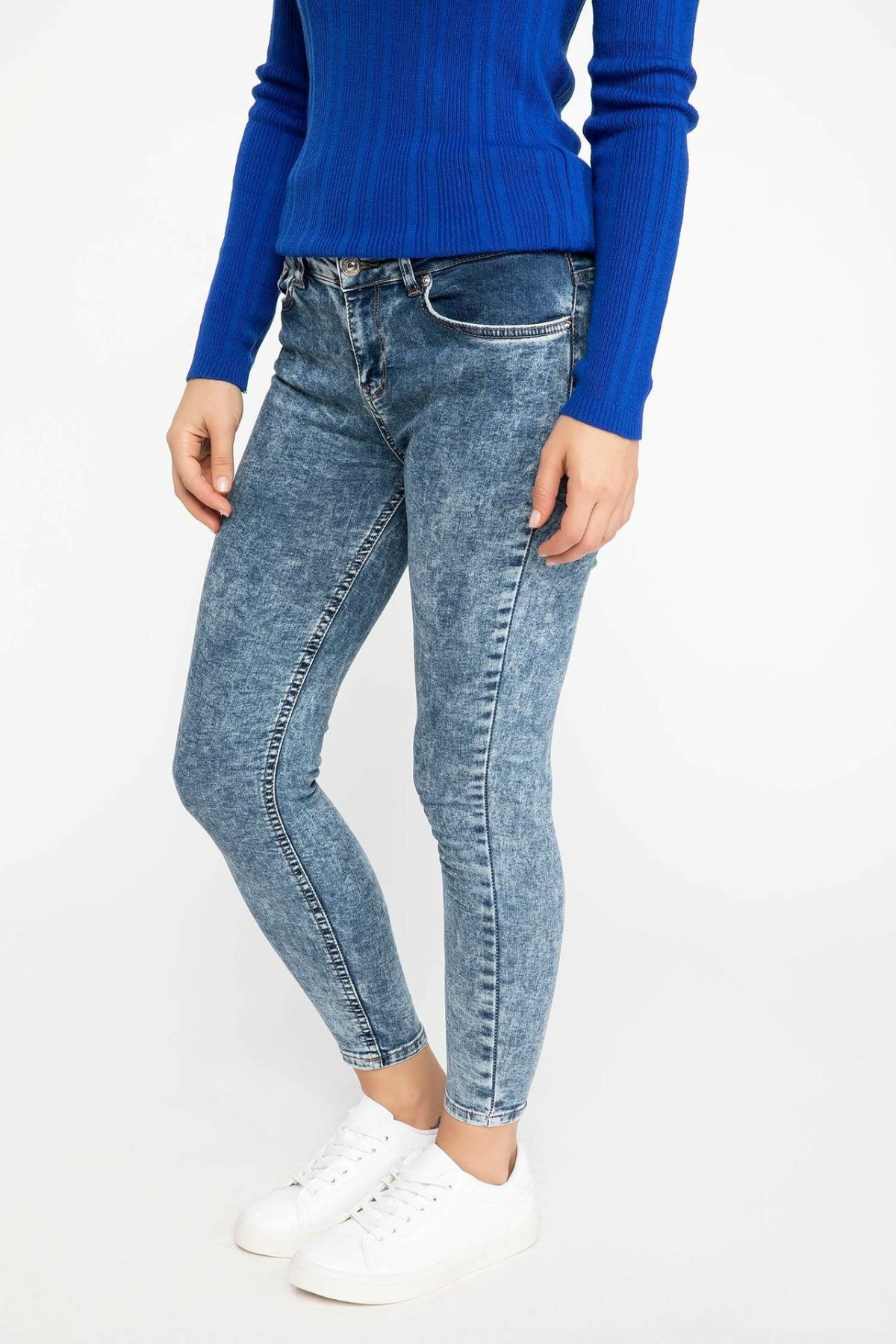 DeFacto Blue Lady Solid Skinny Jeans Denim Simple Mid-waist Denim Stretch Casual Nine Minutes Pencil Trousers-J5685AZ18AU-J5685AZ18AU
