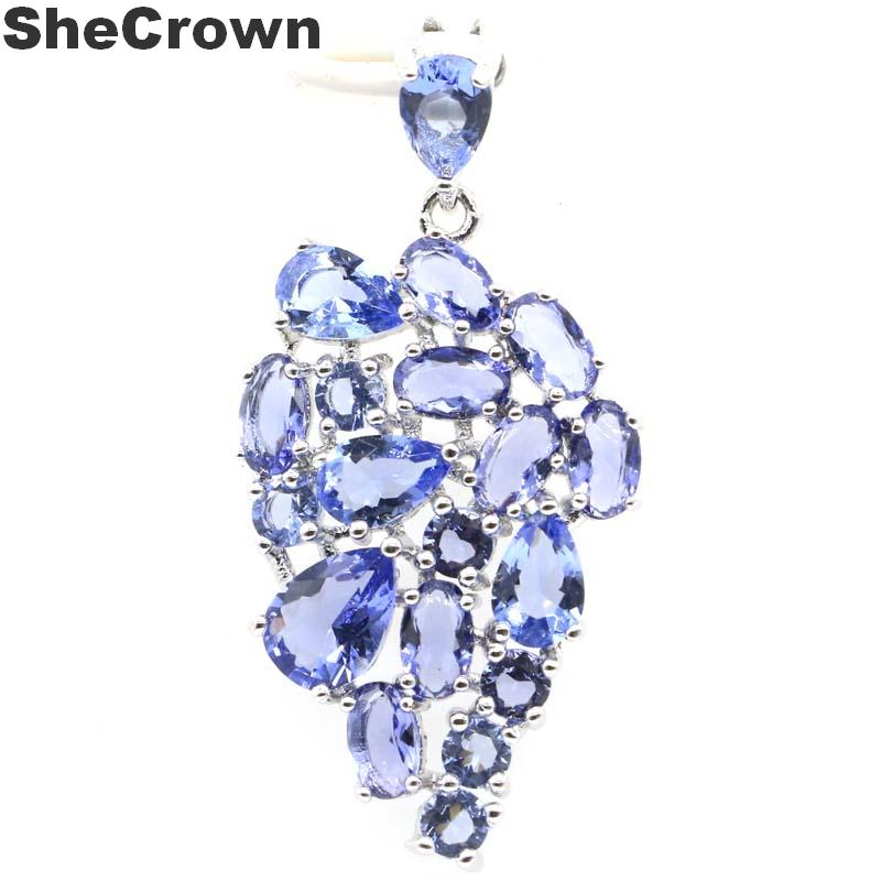 36x18mm SheCrown Created New Stone Iolite Gift For Woman's Jewelry Making Silver Pendant