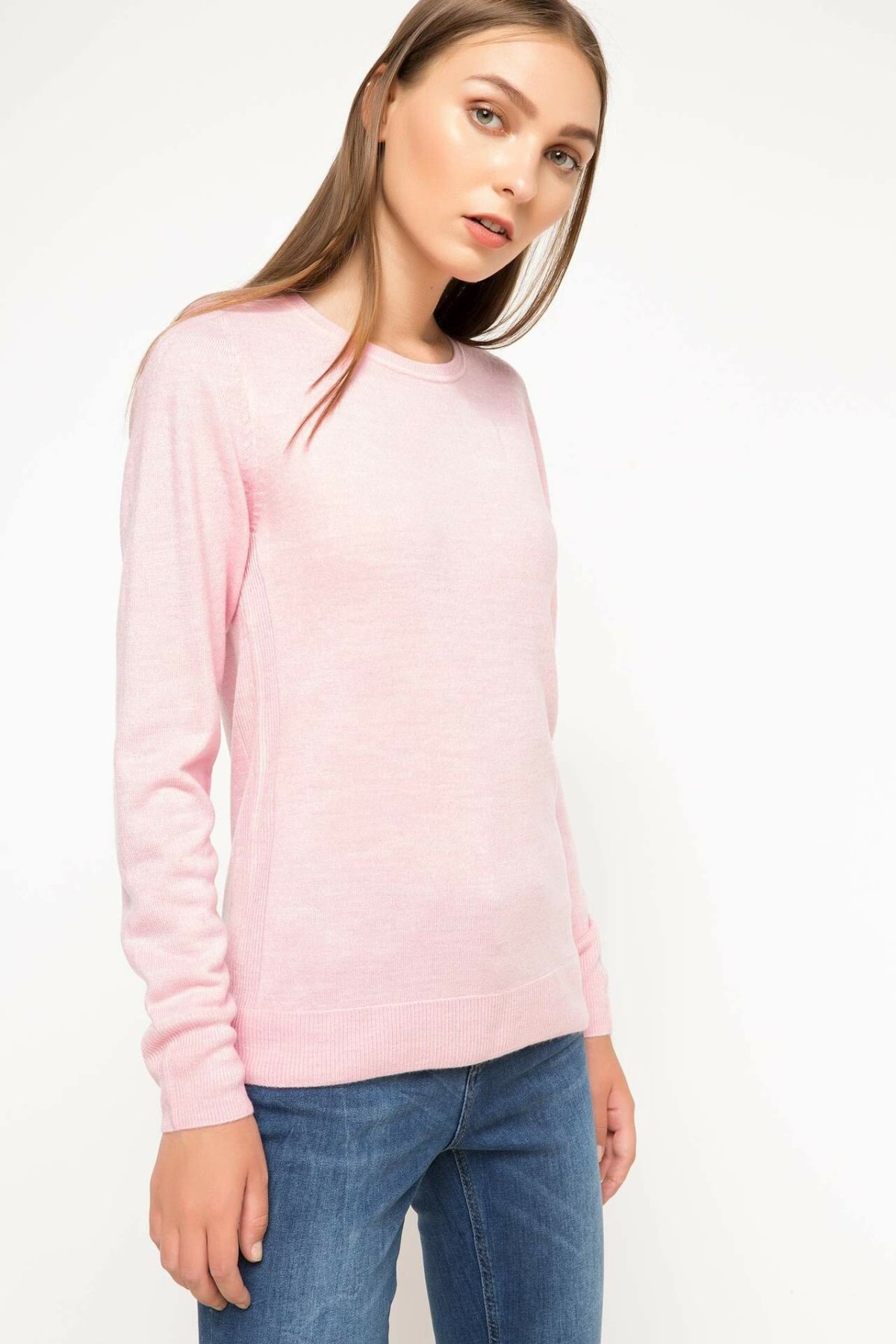 DeFacto Sweet Woman Fashion Knitted Pullover Female O-neck Long Sleeves Tops Ladies Casual Comfort Autumn New- F7091AZ17AU