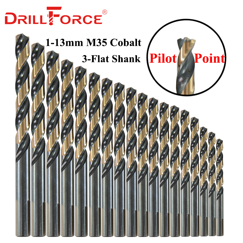 10PCS 1mm-13mm M35 HSSCO Cobalt Drill Bits HSS Twist 3-Flat Shank Pilot Point Drill Bit(1/1.5/2/2.5/3/4/5/6/7/8/9/10/11/12/13mm)