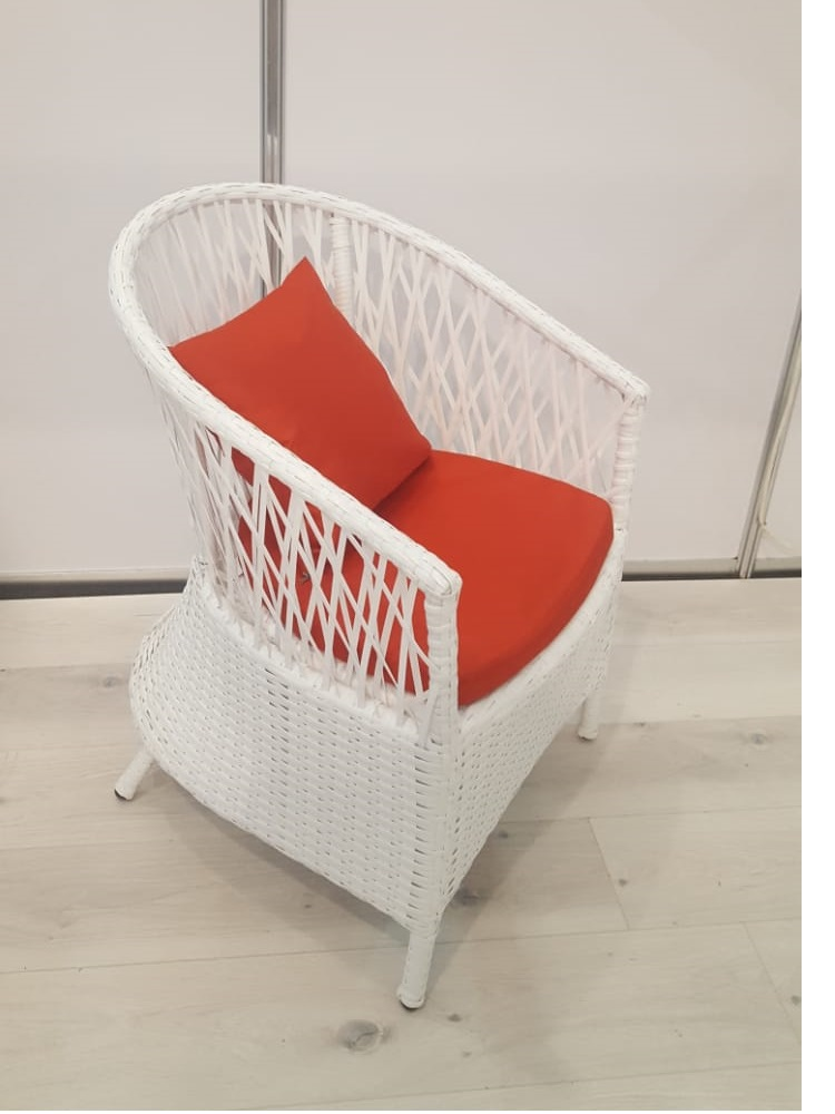 Faux Rattan Wicker Chair With Openwork Back And Pillow