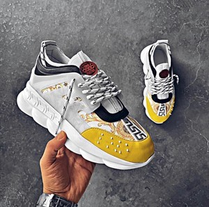 BA0132 BOA Thick Sole Sneakers Style White Yellow Men 'S Sports Shoes