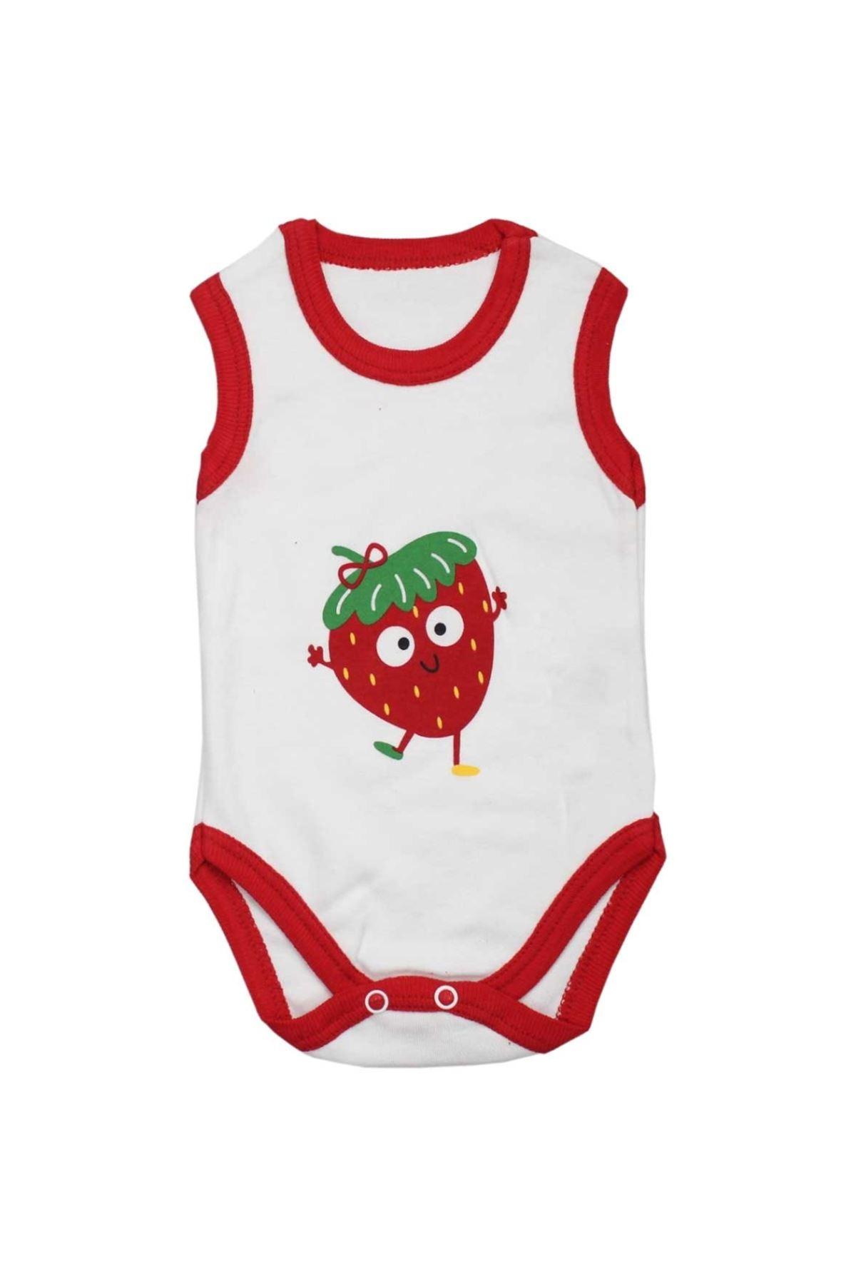 Modakids Baby Girl Strawberry Printed Snaps Bady 071-045-002