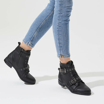 FLO GAREN85Z SKIN Black Women Boots BUTIGO