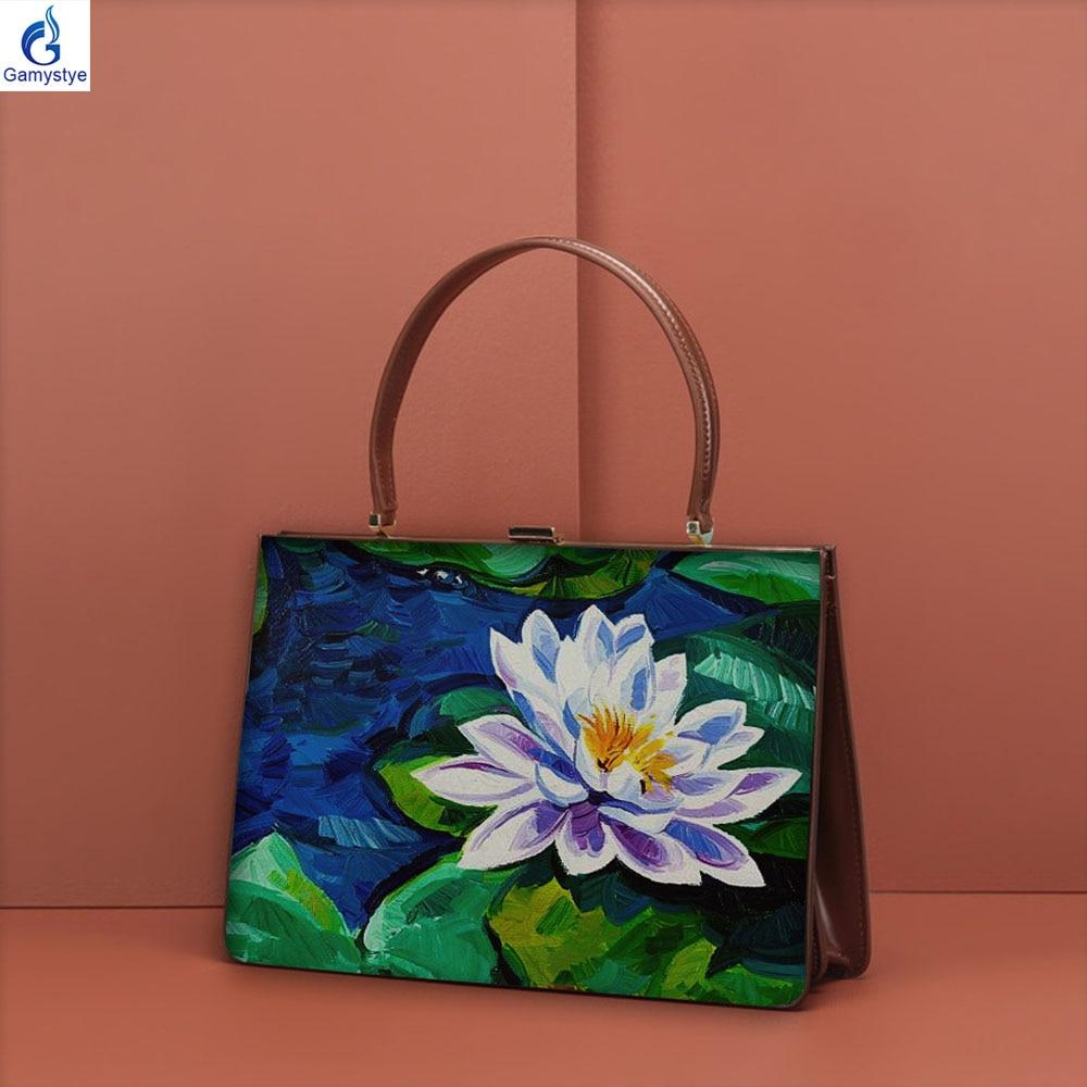 2020 NEW Summer Evening bag Clip bag Custom Hand painted ART oil bags women Genuine leather Bags Women's Messenger bag Handbag