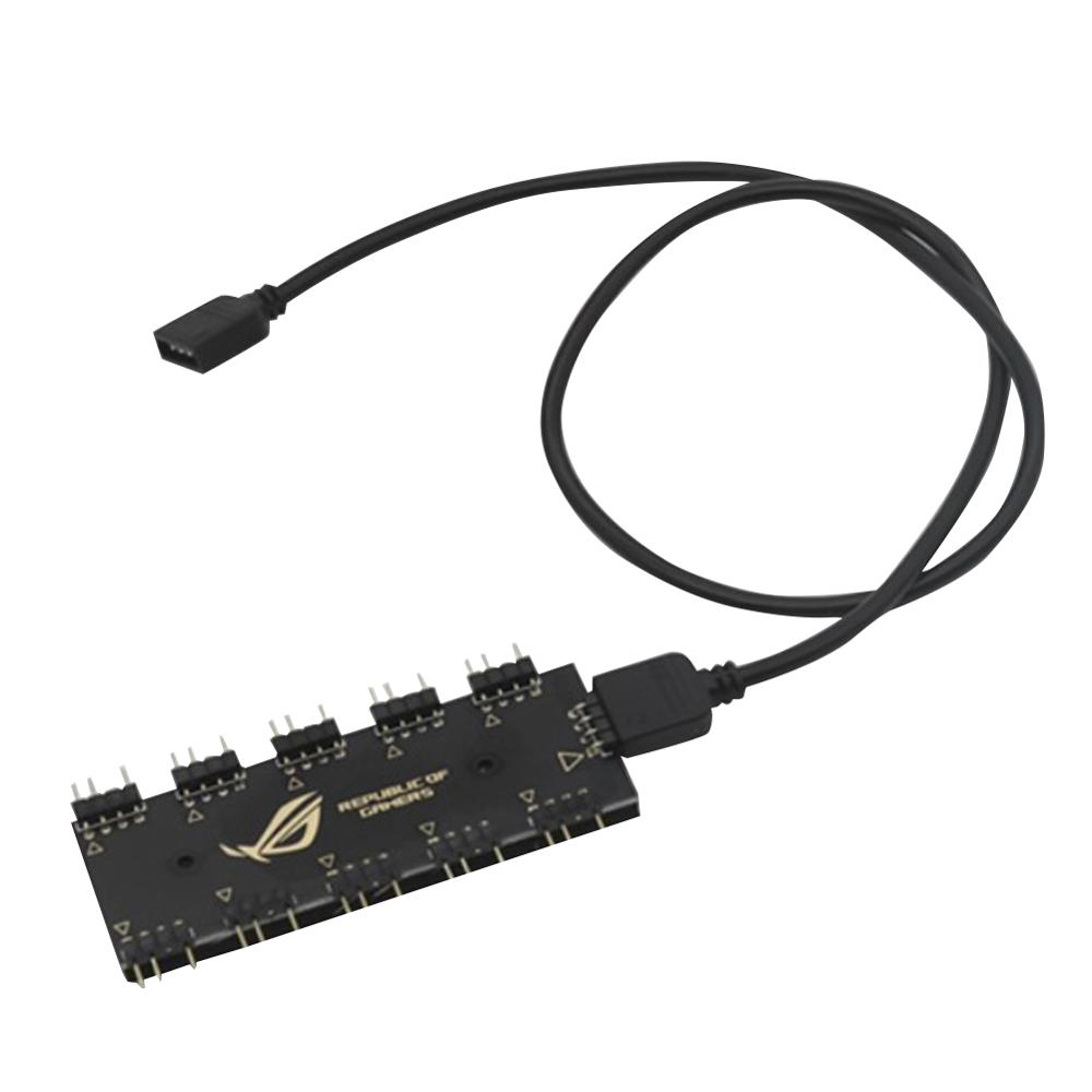 RGB Synchronization HUB Splitter 5v 3pin/ 12V <font><b>4Pin</b></font> 1 to 10 RGB SYNC Extension <font><b>Cable</b></font> for GIGABYTE AURA Motherboard RGB <font><b>Fan</b></font> image