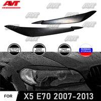 גבות cilia מקרה עבור BMW X5 E70 2007 2008 2010 2013 ABS פלסטיק פיתוחים צר סגנון אורות פנים עיצוב רכב סטיילינג-בעיצוב כרומיום מתוך רכבים ואופנועים באתר