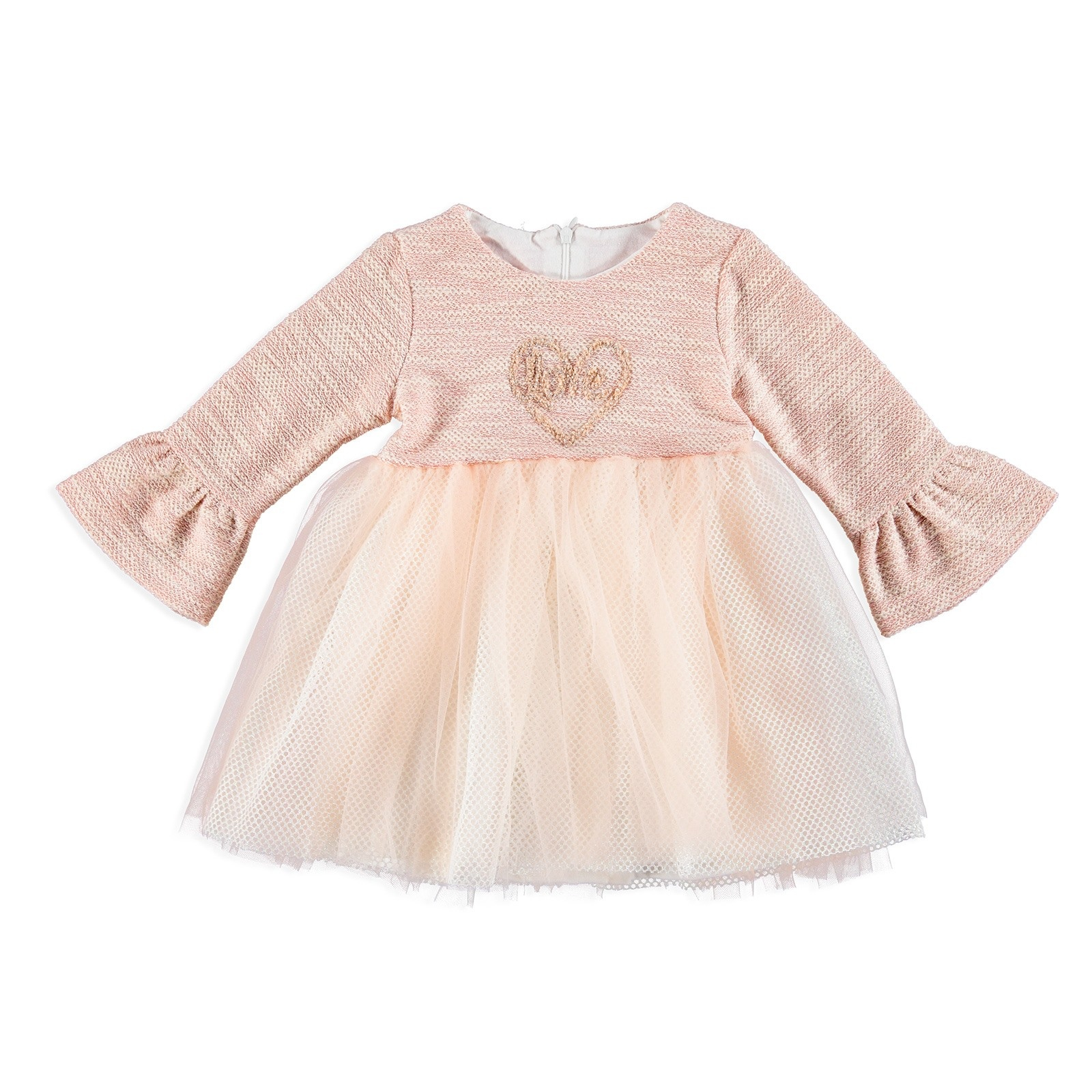 Ebebek Mymio Baby Girl Combed Lined Heart Embroidered Dress