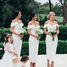 Off shoulder ankle length satin bridesmaid dress