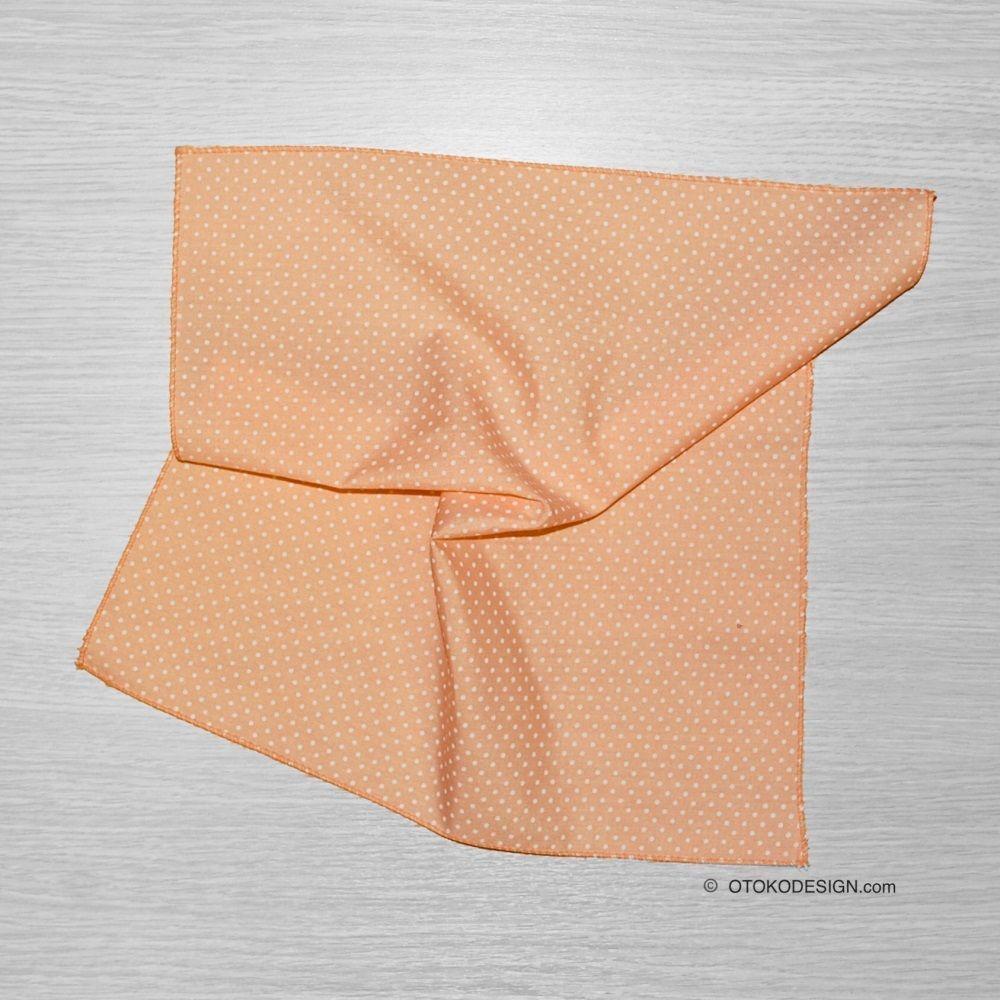 Pocket Square In A Jacket Pocket Beige White Polka Dot (51822)