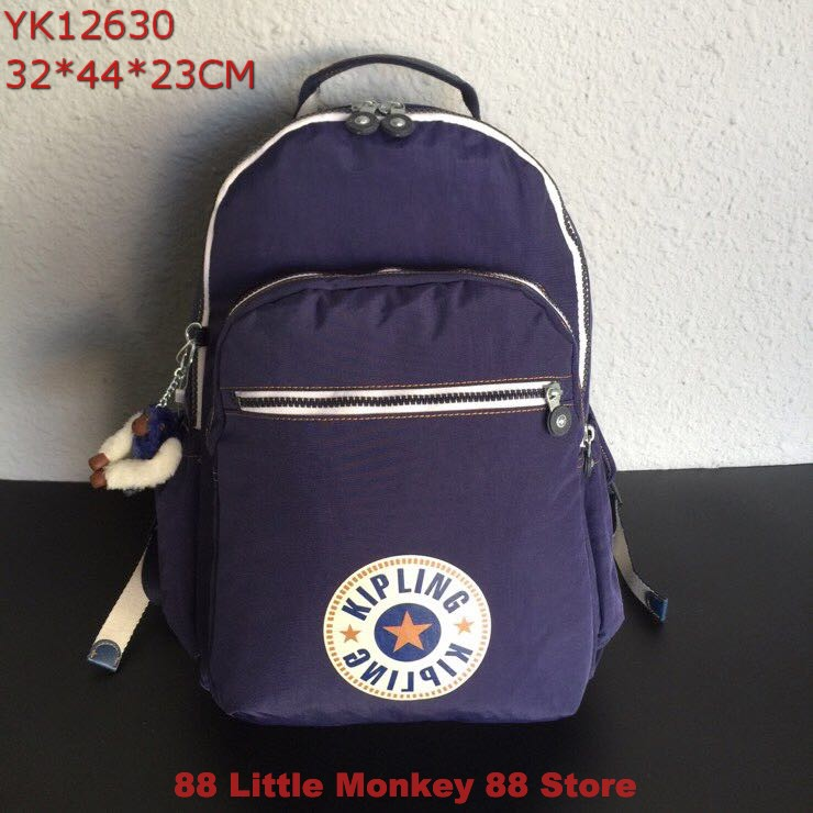 100%Original Kiple Large Size Laptop School Backpack Travel Backpack Casual  Bags WithMonkeyPendant