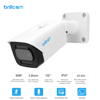 brillcam 4mp hd dual led bullet ip camera with 2 8mm len poe ip67 weatherproof ai sd recording built in microphone security cam Brillcam 4K/8MP UHD IR Bullet Ip Camera with 2.8mm Len PoE IP67 AI SD Slot  Built in Microphone Home Security Surveillance