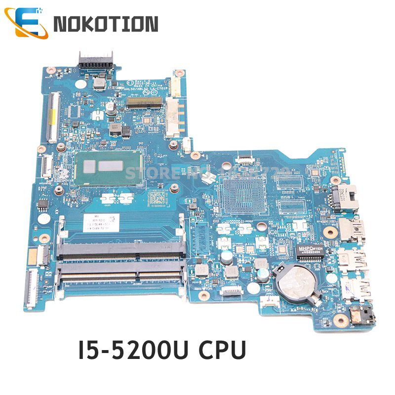 NOKOTION  815244-501 815244-001 For HP 15-AC 15-AC151DX Laptop Motherboard LA-C701P I5-5200U CPU DDR3L