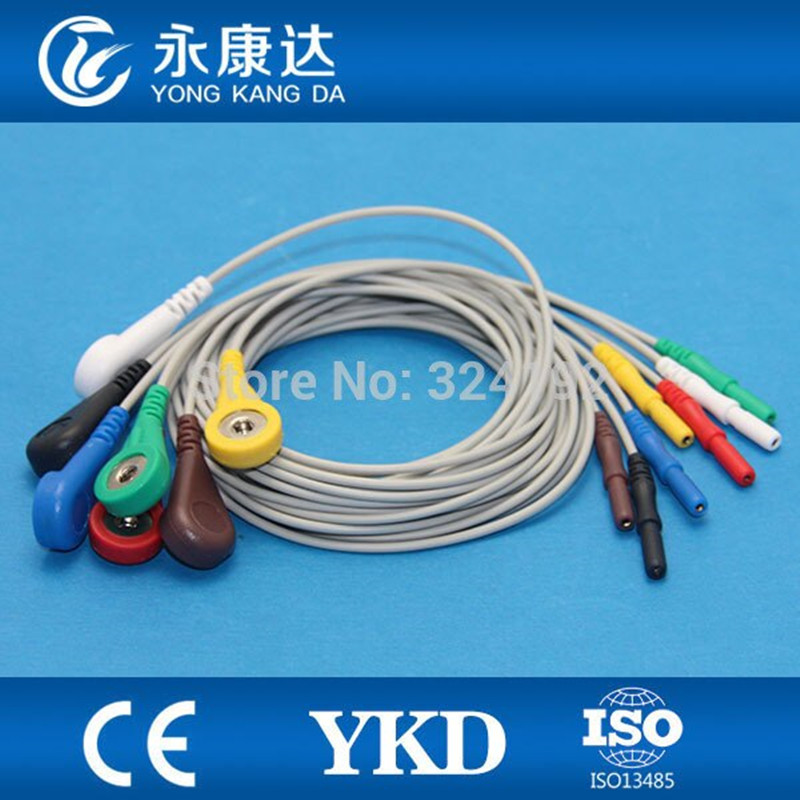 Universal Din1.5 ECG EKG Cable 7leads Snap IEC Free Shipping