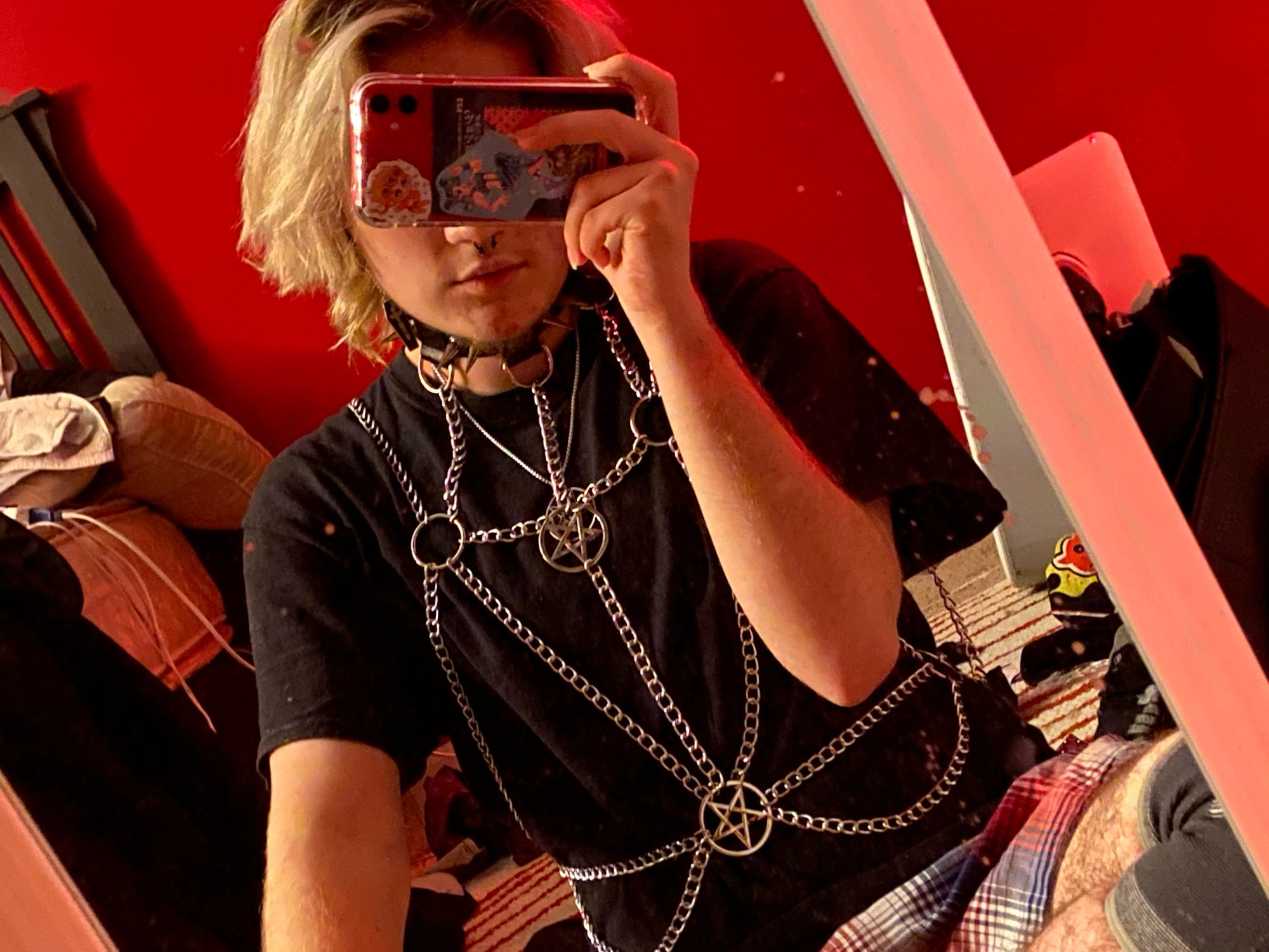 Gothic Metal Chest Chains with Pentagrams and Choker photo review