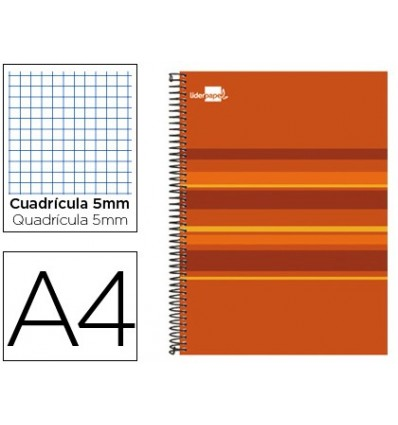SPIRAL NOTEBOOK LEADERPAPER A4 MICRO CLASSIC LINED TOP 160H 60 GR TABLE 5MM 5 BANDS 4 HOLES ORANGE