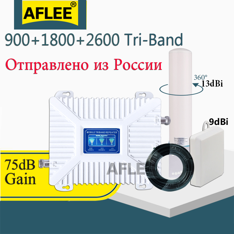 Russia 4G  Cellular Amplifier  900 1800 2600 Tri-BandCellPhone  Repeater GSM 2g 3g 4g Network Mobile Signal Booster GSM DCS LTE