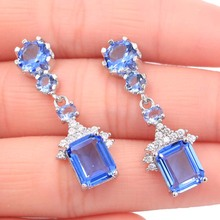 35x13mm 2019 New Arrival Created Rich Blue Violet Tanzanite Natural CZ Gift For Girls Silver Earrings