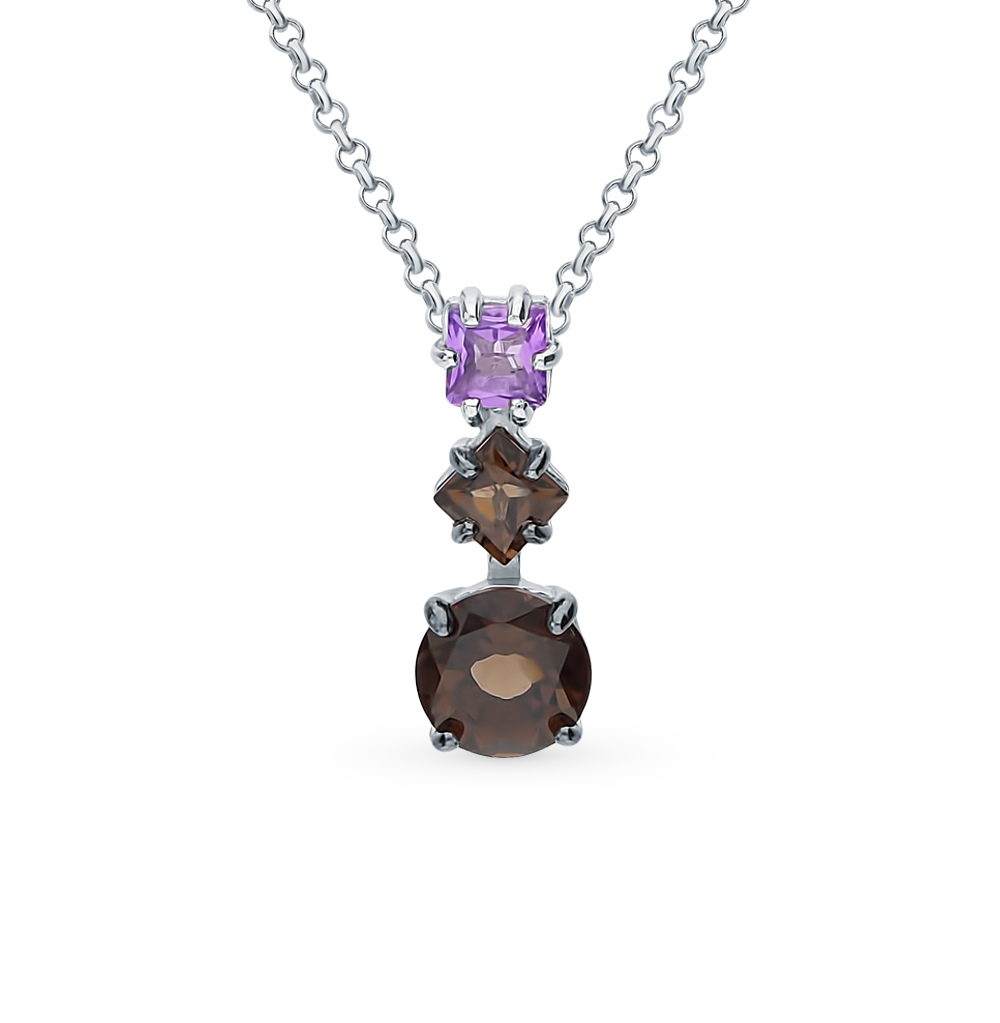 Silver Pendant With раухтопазами And Amethyst Sunlight Sample 925