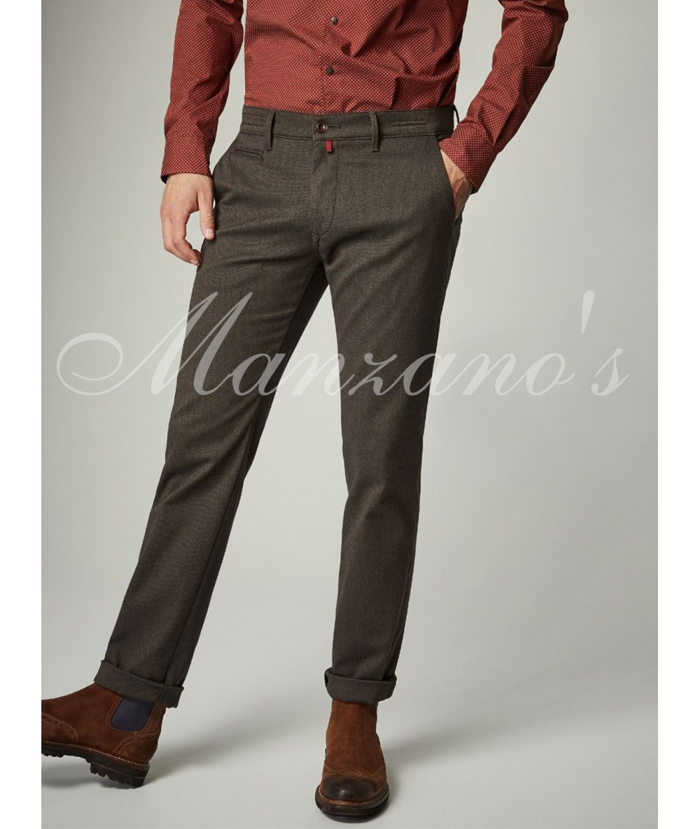 Trousers CHINESE PIERRE CARDIN TANG Long Pants For Men's Dressy Bodysuit Color Marron Menswear 2020