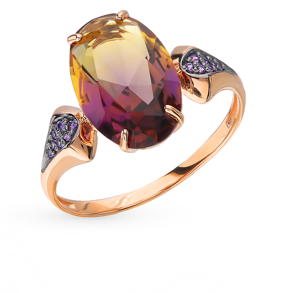 Gold Ring With Ametrine And Cubic Zirconia Sunlight Sample 585
