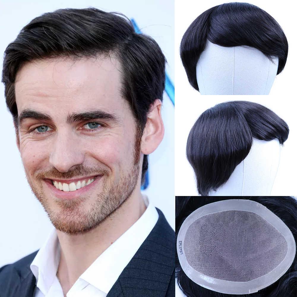 Yy perucas naturais preto masculino peruca indiano remy cabelo humano sistema de substituição 4x4-8x10 fino mono peruca de cabelo humano líquido para homem