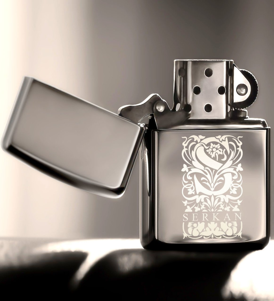 Personalized S Letter Gasoline Silver Gray Metal Lighter (Model 2)|Cigar Accessories| |  - title=
