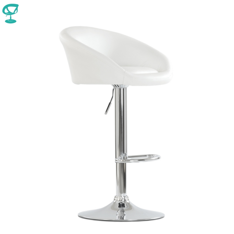 94669 Barneo N-311 Leather Kitchen Breakfast Bar Stool Swivel Bar Chair White Color Free Shipping In Russia