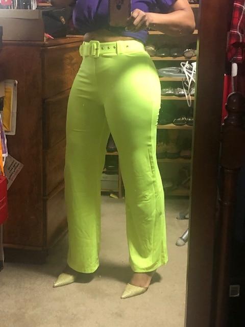 Toplook Neon Wide Leg Pants Summer Women High Waist Streetwear Festival Trousers Loose Black Clothes Office Ladies Belt photo review