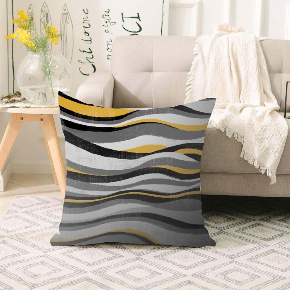 Else Gray Yellow Black White Waves Lines Scandinavian 3d Print Sofa large pillow case Floor cushion covers Hidden Zipper 70x70cm|Pillow Case| |  - title=
