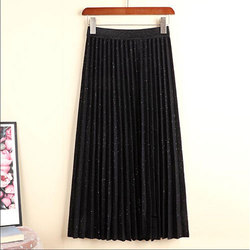 TIGENA 반짝 이는 긴 Pleated 치마 여성 패션 2020 가을 겨울 한국어 캐주얼 높은 탄성 높은 허리 미디 스커트 여성 숙녀
