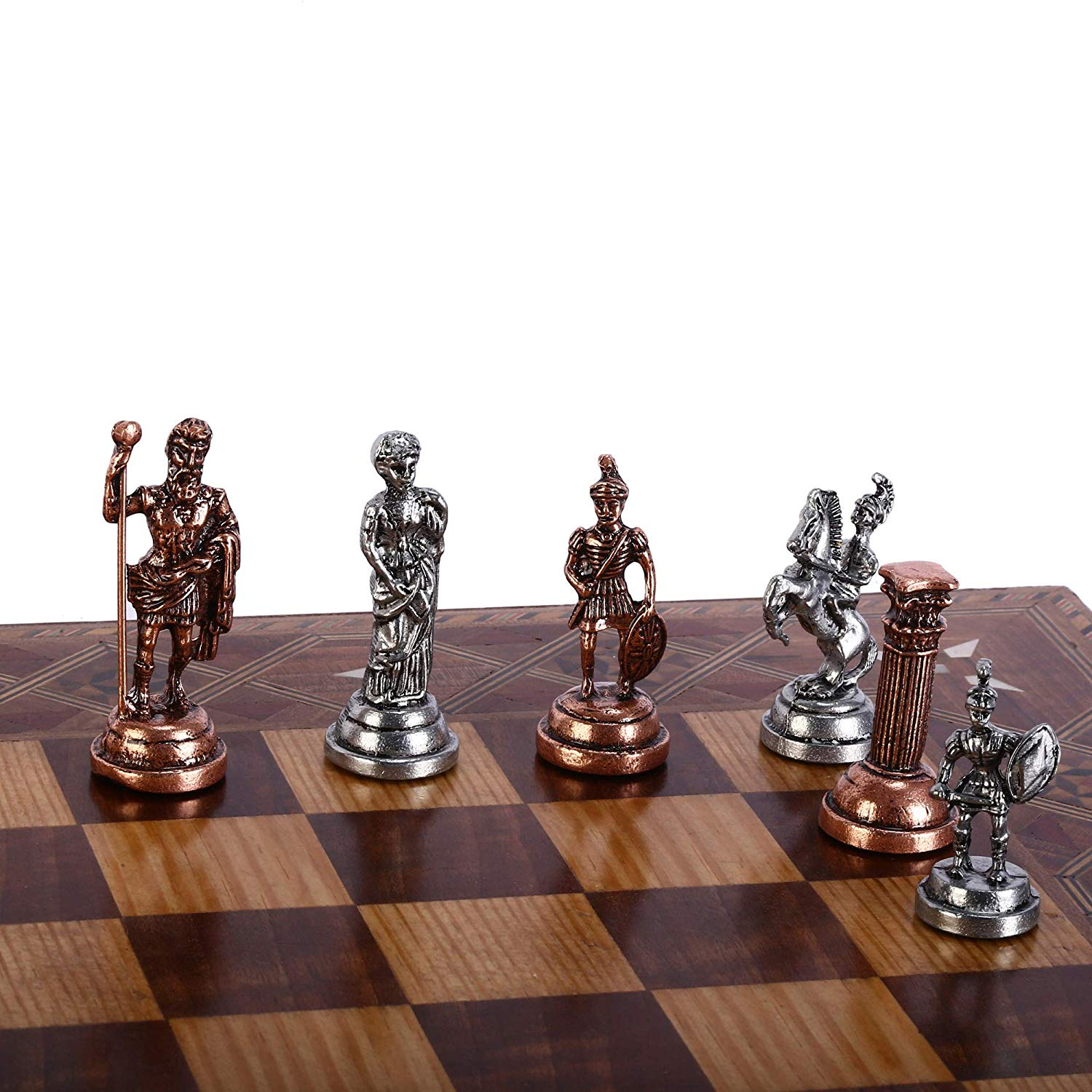 (Only 32 Chess Pieces) Antique Copper Rome Figures Handmade Cool Chess Pieces King 7 cm (Board is not Included)