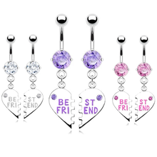 hot sale 2pc fashion sexy night glow luminous acrylic dangle belly ring surgical women navel piercing helix ball body jewelry Best Friend Belly Button Piercing Ring 14Gsurgical Steel Fashion Best Friend Belly Piercing Ring Sexy Navel Piercing Dangle Gift